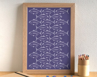 Fish Print - Tuna Print - Kitchen Art - Kitchen Print - Food Art - Food Print - Tuna Print - Fish Art - Gift for Foodie - Gift for Chef