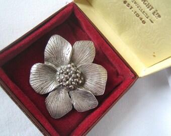 Vintage Silver-tone 'MIRACLE' *Wild Rose Brooch