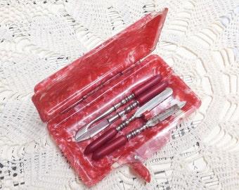 Vintage Bakelite Manicure Set, Manicure Set, Bakelite