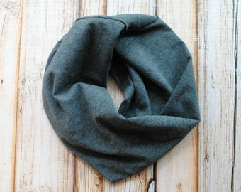 Organic bamboo Baby Infinity Scarf- Gender Neutral Baby- Charcoal Grey- Baby Scarf- Infinity Scarf