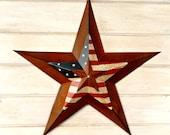 Star Home Decor-Star Wall Hanging-PRIMITVE American BARN STAR- Patriotic Star-Rustic Wall Hanging-Rustic Star Decor-Primitive Home Decor