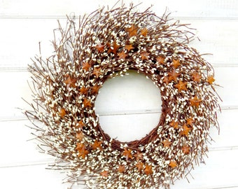 Primitive Fall Wreath-Rusty Tin STAR Wreath-Rustic Star Door Wreath-White Berry Wreath-RUSTIC TWIG Wreath-Rustic Home Decor-Holiday Gifts