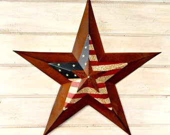 Star Home Decor-Star Wall Hanging-PRIMITVE American BARN STAR- Patriotic Star-Rustic Wall Hanging-Rustic Star Decor-Primitive Home Decor