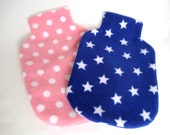 Polar Fleece Hot Water Bottle Cover - Stars or Spots, Pink or Blue, Regular Size Cover