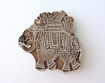Elephant Stamp, Large Indian Textile Stamp, Hand Carved Wood Stamp, Handmade Wooden Printing Block, Ceramic Pottery Clay Stamp, India Decor