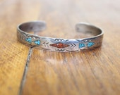 Navajo Bracelet / Sterling Chip Inlay Cuff / Vintage Signed Jewelry