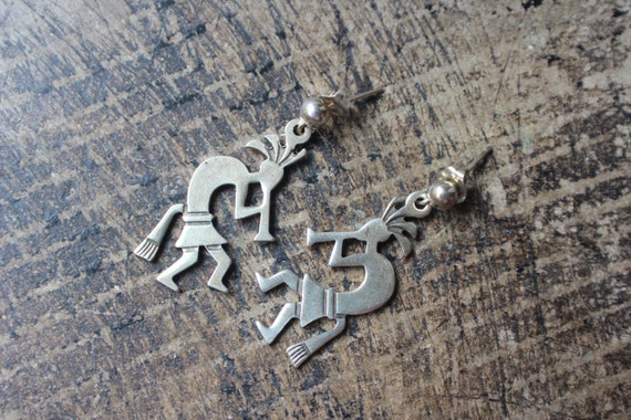 Kokopelli Earrings / Sterling Silver Jewelry / Southwest Dangle Earrings