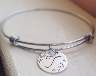 Adjustable Silver Bracelet Initial Monogram Sterling Silver Disc Stainless Steel Charm Bracelet