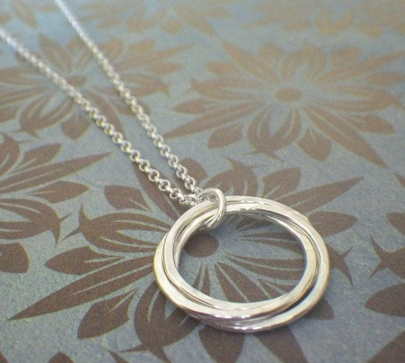 3 rings necklace interlocking rings 30th birthday by