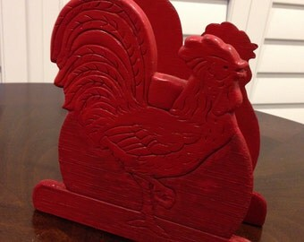 Wooden  Napkin or envelope holder CHICKEN rooster handpainted  red vintage rustic country look