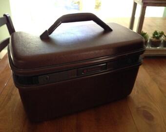 Brown Samsonite Travel Luggage Make Up case small hard side