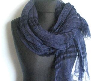 Linen Scarf Shawl Wrap Stole dark blue Light Transparent