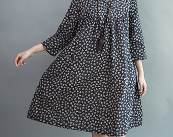 women Loose fitting Knee length dress Comfortable cotton clothing