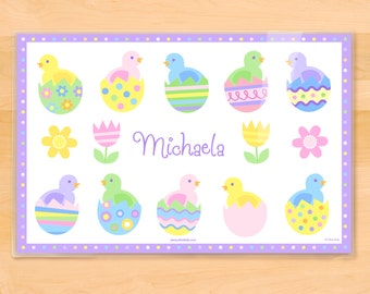 Olive Kids Personalized Easter  Placemat, Kids Placemat, Baby Chicks Placemat, Holiday Placemat, Laminated Placemat