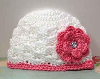 White Emma hat with strawberry trim/ Flower with rhinestone/ 0-3 months