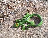 Cast Iron Gecko / Lizard / Home Decor / Garden Decor / Green / Orange / Purple