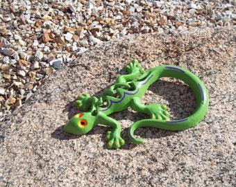 Cast Iron Gecko, Lizard, Home Decor, Garden Decor, Green, Orange and Purple