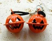 Vintage Halloween Pumpkin Jingle Bell Dangle Earrings
