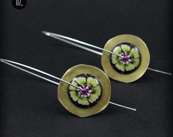 Circles Gold Waterlilly - earrings