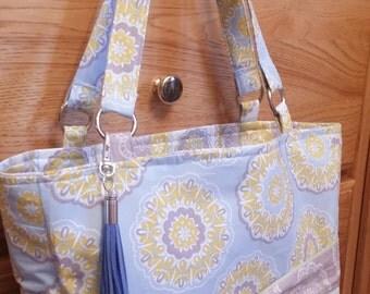 Handbag, Shoulder Bag, Blue Grey Yellow, studs, magnetic closure