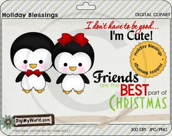 Chibi Penguin boy and girl, Winter, Christmas, adorable Clipart and graphics