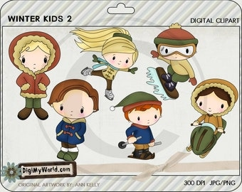 Winter Kids for the season snowboard, ice skating, parka, snowmobile Clipart and graphics