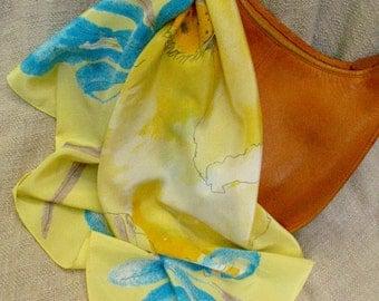 Vera Neumann 60s scarf floral poppy iris yellow free shipping Varesa by Vera