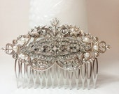 Silver Art Deco hair comb wedding hair comb vintage hair comb bridal bridesmaid vintage victorian inspired rhinestone hair comb Gatsby comb