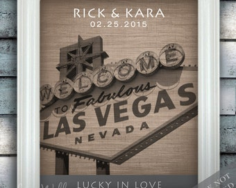 Vegas Style Love - Custom Date Name Print - Personalized Las Vegas Wedding Gift - Bridal Shower Gift - Nevada - Unframed
