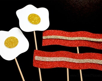 Photo Booth Props ~ Bacon and Eggs Photo Booth Props ~ Set of 4 Props ~ Breakfast Collection