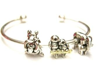 3 Pugster, Mother and Baby Animal Charms, European Charm Beads,  Animal Variety, Elephant, Kangaroo, Bird