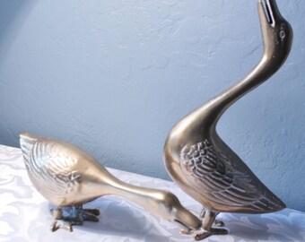 Vintage Cast Brass Geese Solid Brass Goose And Gander
