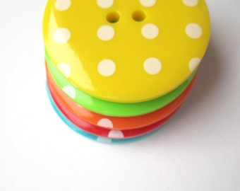5 large 1-1/8inch / 34mm fun polkadot spotty round buttons - red orange yellow green blue