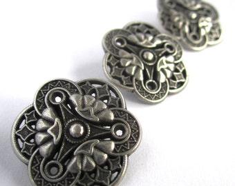 5 silver decorative ornate art deco vintage style flower shank button - 23mm