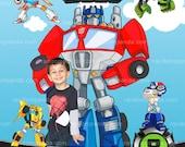 Personalize Rescue Bots Invitation, Transformers Party, Optimus Prime Invite