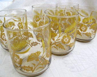 SALE Vintage Libby Smokey Glass cornflower juice glasses (set of 6) / Vintage orange juice glasses