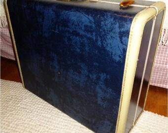 Vintage Samsonite Luggage Navy Blue with White
