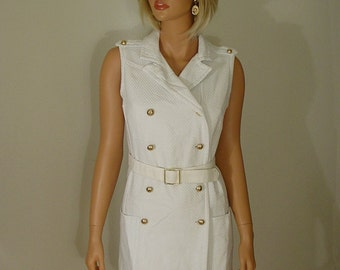 1960s MOD White Textured Double Breasted Long Vest or Mini Dress with Belt I. Magnin and Co.