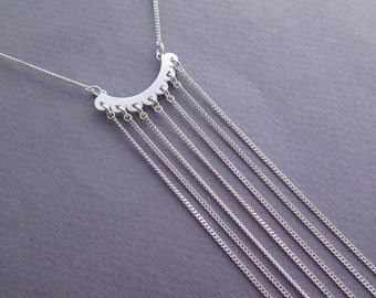 Long Fringe Necklace - Sterling silver Tie Necklace - Statement Necklace - Fringe Jewelry