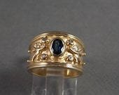 Sapphire and Diamond Cigar Band ring with Angel Design .64Ctw Yellow Gold 14K 5.8gm Size 7.5 Wedding