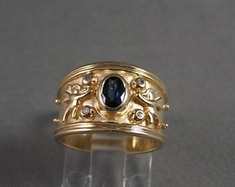 Sapphire and Diamond Cigar Band ring with Angel Design .60Ctw Yellow Gold 10K 6.5gm Size 5.75 Wedding
