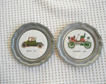 Motor Cars Minature Art Plaques 2 Vintage Ceramic Pewter  Decorative Trinket Plate Wall Art