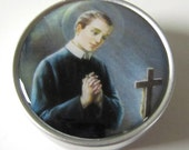 Handcrafted Saint Gerard Religious Small Tin Crucifix Medals Inside Box or Empty