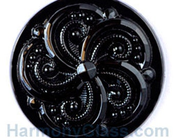 Swirly Black Stained Glass Jewel 35mm
