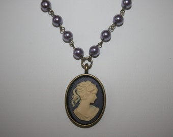 Heiress Lilac Lady Cameo Purple and Ivory Cabochon Antique Brass Filgree Pendant Ladies Necklace Pearl Earrings Victorian Handmade