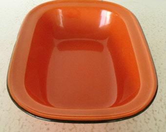 "9"" Orange Enamelware Vintage Pan Bowl Basin"