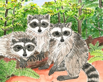 178. love from the gang - funny raccoon card - any 6 designs