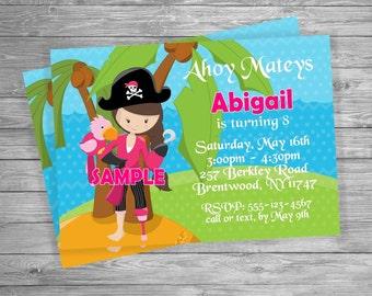 Girl Pirate Birthday party invitation, Custom Personalized - Digital File, DIY Printable File
