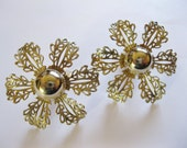 SALE! Judy Lee - Extra Large Vintage Earrings - Filigree Blossoms - Clip-ons - Floral Earrings - Flower Earrings