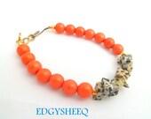Coral and Jasper Bracelet, Layering Gemstone Bracelet, Burnt Orange Spot Jasper Bangle, Orange Turquoise Bracelet, Statement Bracelet